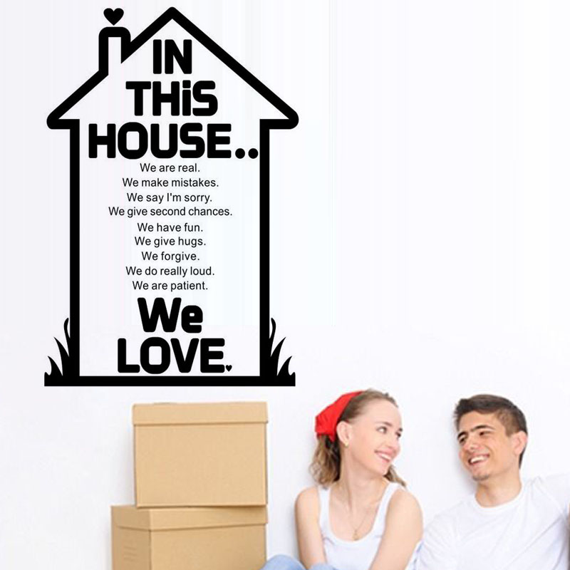 Simple Design Cartoon House Wall Stickers We Love Vinyl Removable Art Text Home Decor Mural
