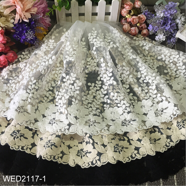 FengRise 35cm White And Black Bilateral Embroidered Net Mesh Lace Fabric Trim