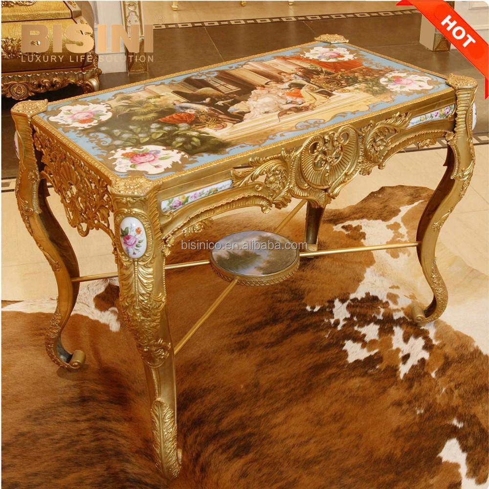 Luxe fran ais louis xv style 24 k plaqu or laiton table basse palais royal porcelaine - Table basse style louis xv ...