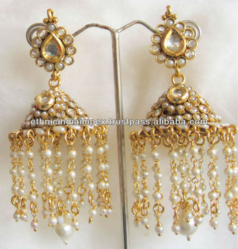 Big Pearl Polki Jhumka Dangler Polki Earrings - Buy Indian Polki ...