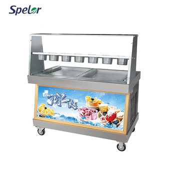 New Arrival Latest Design Double Pot Fry Ice Cream Machine