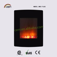 Wall mounted fire with Black curved tempered glass front panel