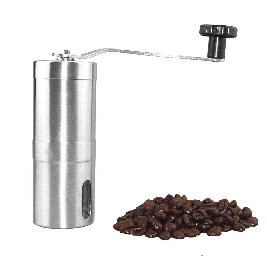 Portable Stainless Steel Manual Coffee Grinder, Ergonomic Hand Crank Mill, Adjustable Ceramic Burr for Grinding Fine or Coarse Beans, Precision Easy to Clean & Carry-Great for Travelling Silver