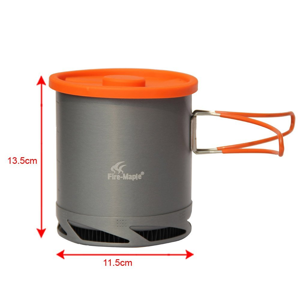 SyGyn(TM) 1L Portable Heat Exchanger Pot Fire Maple FMC-XK6 Ultralight 220g Outdoor Camping Kettle Picnic Cookware Cup Anodized Aluminum