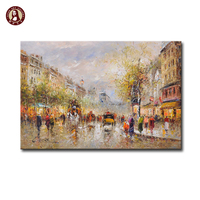 impressionist Winter paris street scene oil painting on canvas for home decor