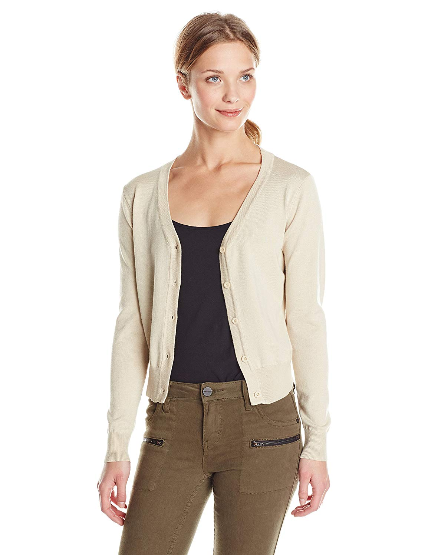 5b59bfb19f Doublju Womens Long Sleeve V-Neck Cardigan Button Front Crop Cardigan (S -  3XL