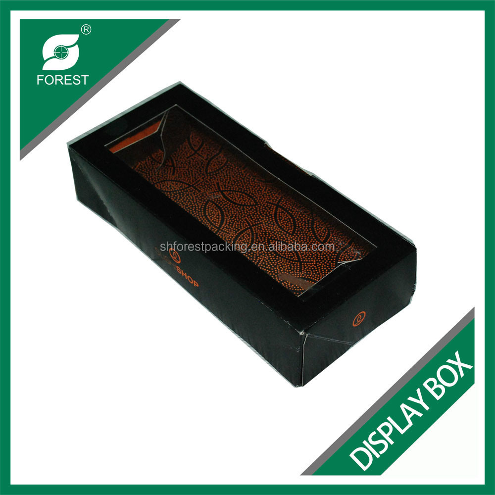 FOOD INDUSTRY PE COATED FOOD DISPLAY BOX BLACK PVC WINDOW FOOD CONTAINERS WHOLESALE