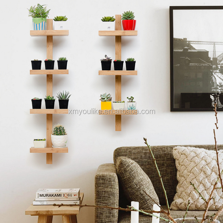 Fashionable Floating Bamboo Wood Wall Mount Plant Flower Display Shelf