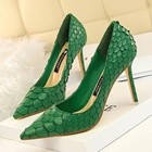 SS0016 Women banquet stiletto heel spring 2018 formal green color sexy shoes with snake skin pattern