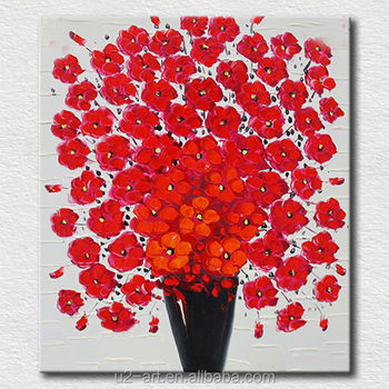 Lien Canvas Oil Painting Easy Red Flower Art - Buy Pictures On  Canvas,Flower Pictures On Canvas,Textured Flower Pictures On Canvas Product  on