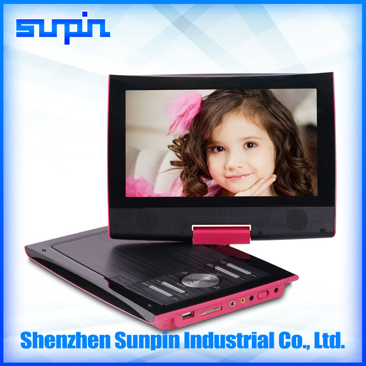 9 inch portable dvd player with 6 hours long battery life