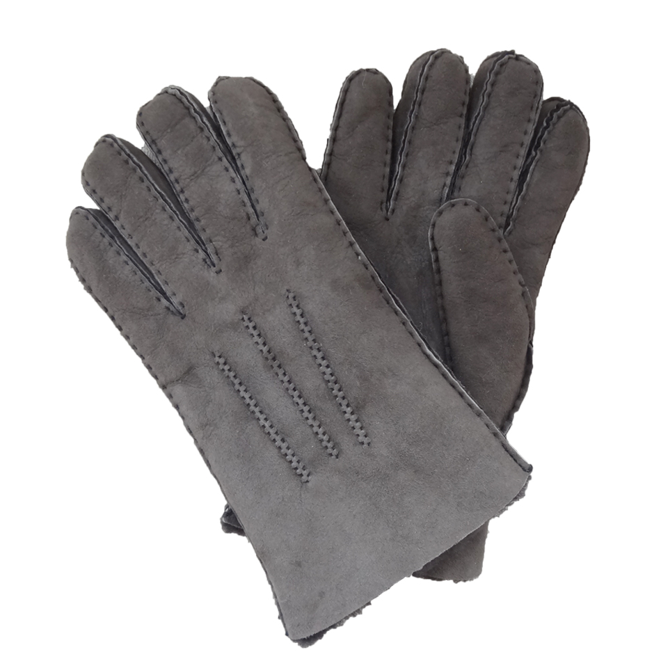Spanish Merino Sheepskin Double Face Leather Winter Gloves Hand Sewn Men Gloves