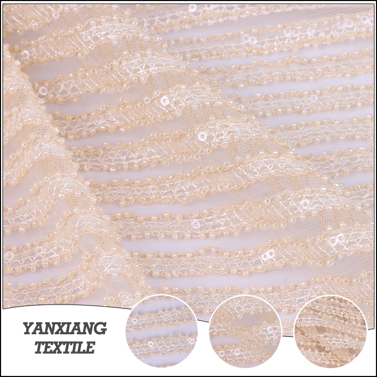 2018 top selling famous brand Sequin embroidery lace fabric