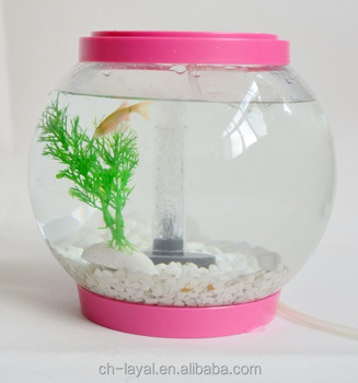 Custom Logo Small Pink Glass Fish Bowl With Artificial Plant Led ...