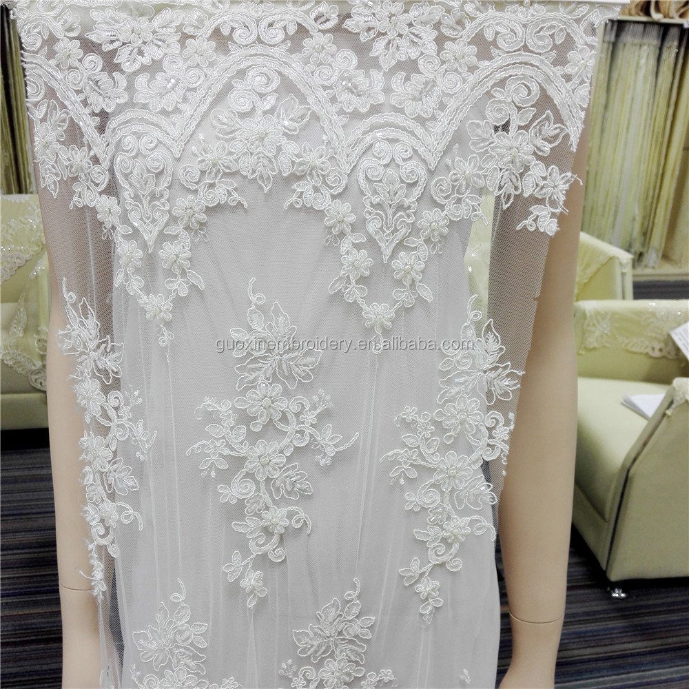 Wedding beaded lace fabric, flowers embroidered lace,floral 3D lace fabric,lace for DIY dress,Width 135CM