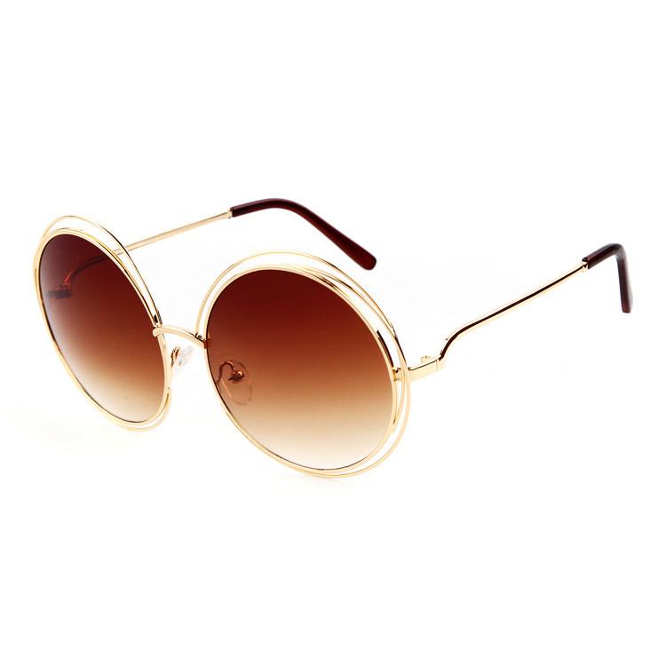 Meilleures ventes miroir lentille UV400 grande ronde femmes marque  italienne de lunettes de soleil 0455a127a57a