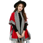 Hot sale winter women tassel shawl scarf pashmina knitting pattern plus size knitted ponchos with pocket