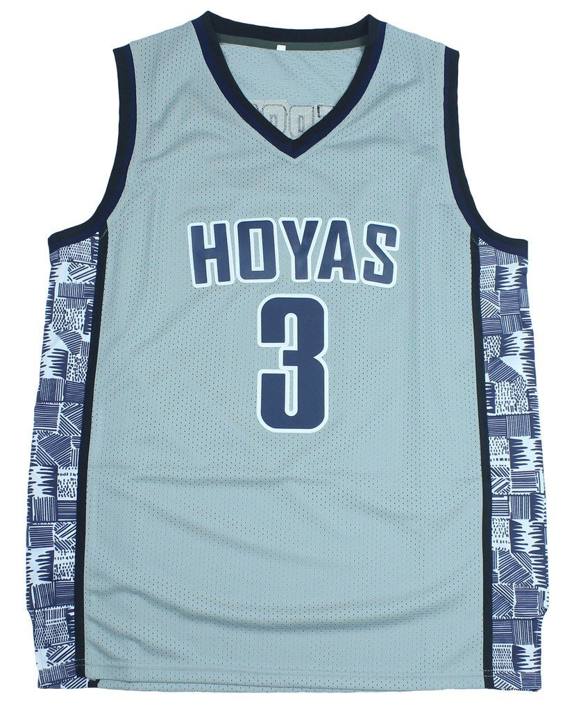 e74baf9cba8 CRISGIORD Men's Georgetown Hoyas College Basketball NO.3 Allen Iverson  Throwback Jersey L Grey