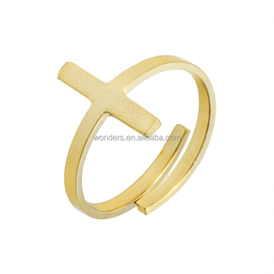 Sideway Cross Vintage Finger Rings Jewelry Women Adjustable Anillo Hombre