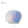 Fashion design PU leather laser glitter shell lips cosmetic clutch bag with zipper