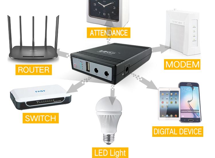 High quality cctv adsl modem ups power supply battery backup mini dc ups with 12V 9V 5V output