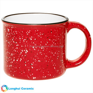 15oz Tin style camper-campfire custom colorful ceramic coffee mug with retro granite design