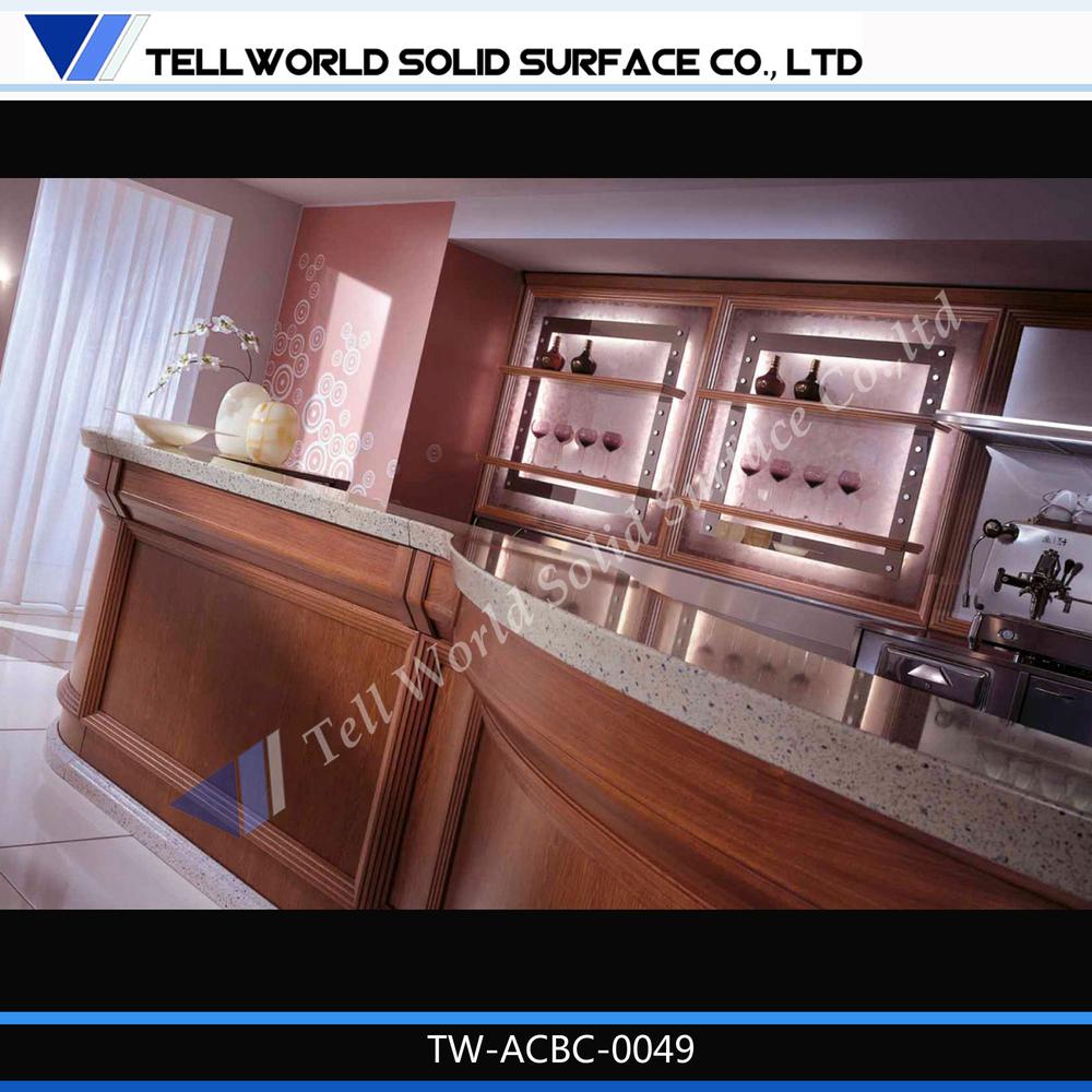 Tell World High Quality Custom Made Acrylic Top Hand Carved Wood Home Bar