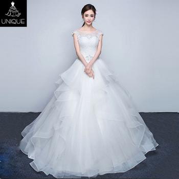 2018 White A Line Plus Size Off Shoulder Floor Length Wedding Dress