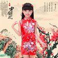 2016 New Fashion Children Girls Dress Chinese Girls Baby Peacock Cheongsam Dress Qipao 2 8Y Clothes