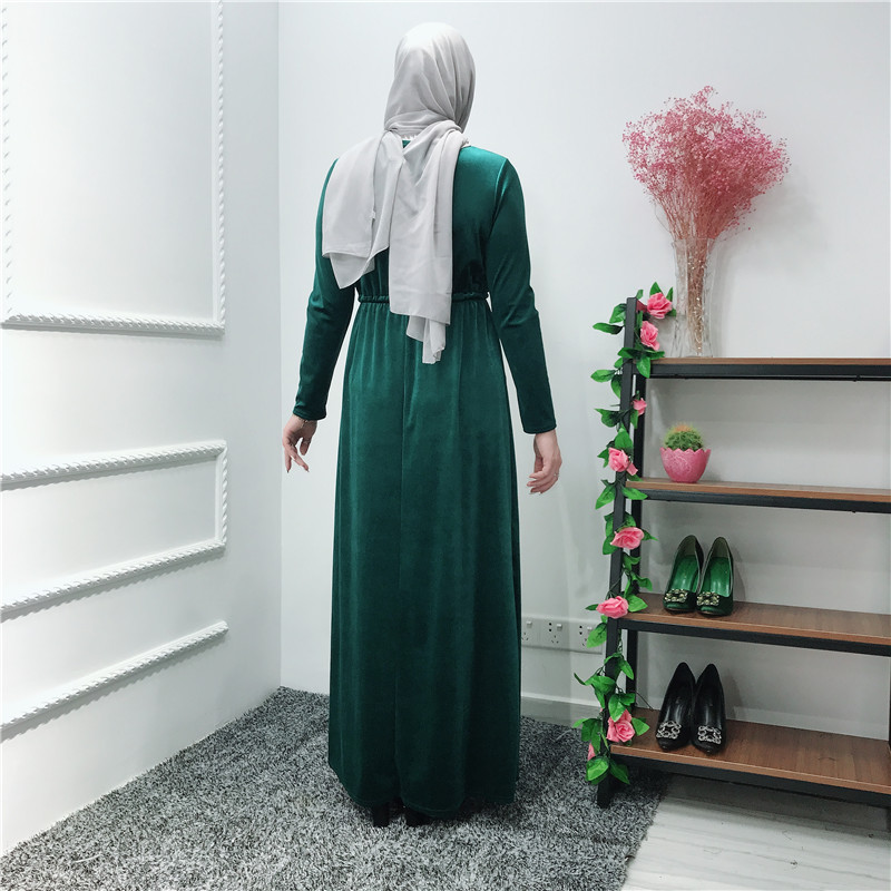 Hot Sale velvet Islamic Green Abaya Daily Wear Muslim Dress