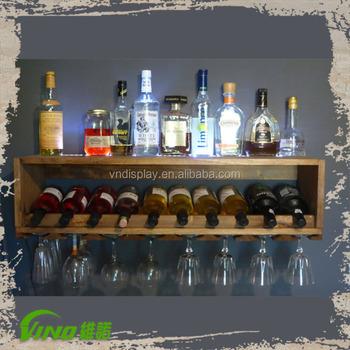 Antique Lighted Mini Bar Wine Bottle Rack Holder Handmade Wall Mounted Storage Display
