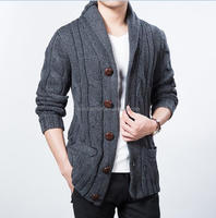 custom mens shawl collar winter chunky wool cable cardigan sweater