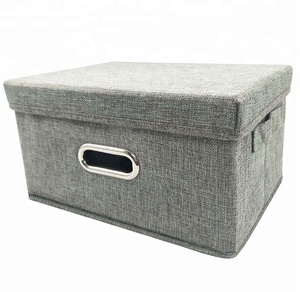 Linen Fabric Foldable Storage Container with Removable Lid and Handles,Storage bin box cubes Organizer - Gray For Home, Office,