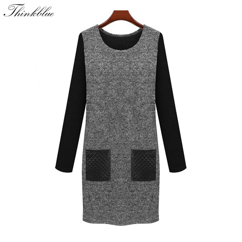 New 2015 Winter Dress Plus Size Long Sleeve Women Knitted Winter Dress Warm Thick Long Women Sweater Dress Casual With Pockets