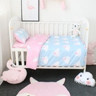 Custom 100% Cotton Pink Rabbit Printed Applique Baby Boys Girls Bedding Cover 3 Pieces Set