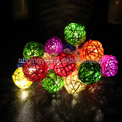 Operated LED 3cm Rattan Ball Fairy Lights with Metal Drops Fairy Light and 4-feet Transparent Wire, White Blue Yellow Green Red