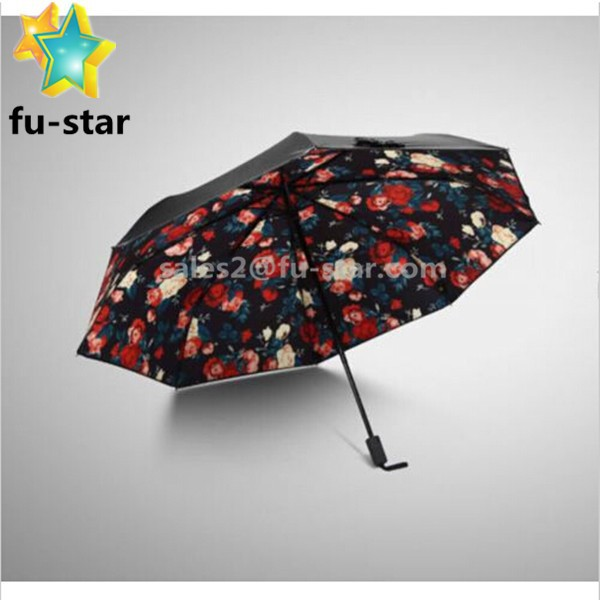 Pn FUJIAN manufacturer 55cm Flower Print Sun Shade Anti-UV Folding Black Double-layer canopy Outdoor Umbrella