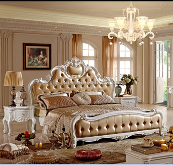 Factory Offer Luxury European Classical Solid Wood Leather Bedroom