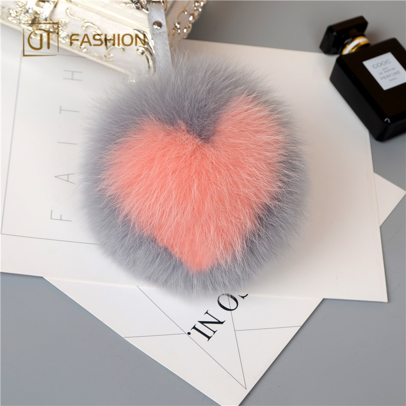Wholesale Jtfur Multicolor Factory Real <strong>Fox</strong> <strong>Fur</strong> <strong>Ball</strong> Heart <strong>Fur</strong> Pom Pom <strong>Keychain</strong>
