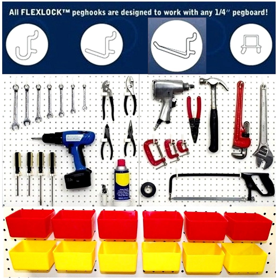 Wallpeg Craft & Tool Organizer Bins & Peg Hooks – 10 Red Bins and 80 Assorted Peg Hooks AM-90R 2