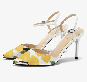 Stiletto heel lemon printed fabric pointed toe skinny straps women sandals