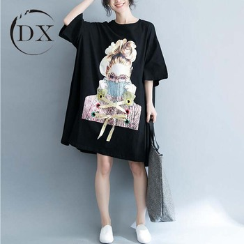 6ee4109ff3 Woman Casual Korean Style Oversized Cotton Printed T Shirt Dress - Buy  Ladies Cotton Print Readymade Dress,Plus Size Women Dresses,Korea Clothing  ...