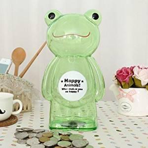 Children's cartoon piggy piggy bank oversized transparent plastic coin piggy bank creative cute inch sheet of plastic frog