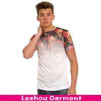skull rose printing t-shirt with allover sublimated print
