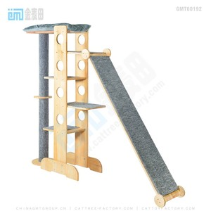 Gmt8124 High quality sisal material natural wood cat tree