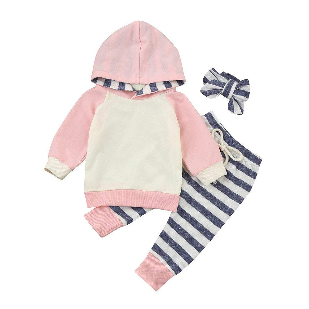 fc5d89db3823 Get Quotations · 3pcs Toddler Baby Clothes Set Hoodie Tops+Pants+Headband  Outfits