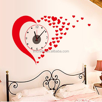 Manufatory supply love 3d clock wall stickers wedding for Bedroom 3d wall stickers