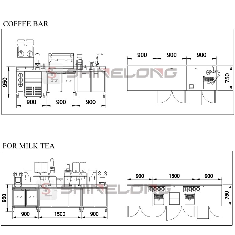 Commercial Hotel Restaurant Stainless Steel Bar Equipment Counter Design