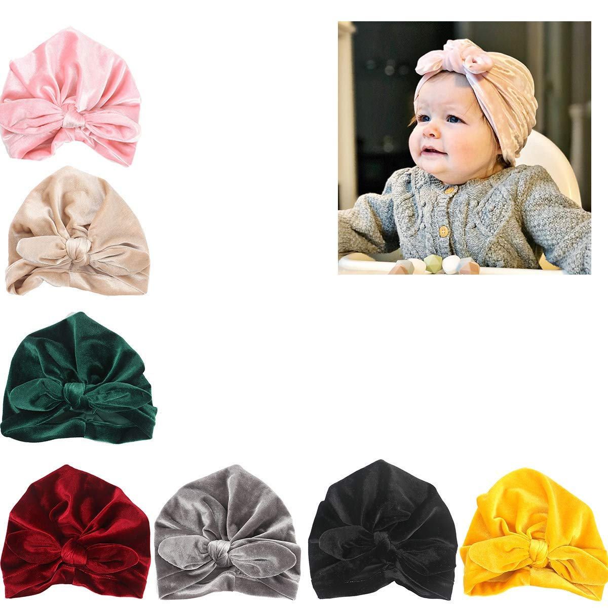 36f2241fc81 Get Quotations · Udobuy7 Pcs Headband Updated Version Baby Hat- Newborn  Baby Girl Soft Cute Turban Knot Rabbit