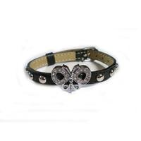 CR1109 Slide Charm Leather Bracelet, Metal Leather Bracelet, Butterfly Leather Bracelet